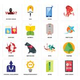 Set of login screen, zipper, personal development, myth, spartan, boiler, good bad, phone, mystery person icons. Set Of 16 simple editable icons such as login Stock Photography