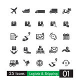 Set of 25 logistic shipping transport icons Stock Images