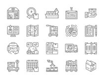 Set of Logistics and Delivery Line Icons. Warehouse, Cargo, Container and more. royalty free illustration