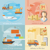 Set of logistics and delivery shipping concepts Royalty Free Stock Photo