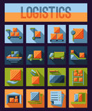 Set of logistics and delivery systems flat icons Royalty Free Stock Images