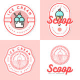 Set of logo, badges, banners, emblem and elements for ice cream shop. Stock Images