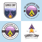 Set of logo, badges, banners, emblem and elements for summer camp. Outdoor adventure club. Stock Images