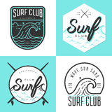 Set of logo, badges, banners, emblem and elements for surf club. Royalty Free Stock Photos