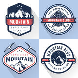 Set of logo, badges, banners, emblem for mountain, hiking, camping, expedition and outdoor adventure. Exploring nature. Set of logo, badges, banners, emblem for royalty free illustration