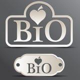 Set logo. `Bio` metallic color Royalty Free Stock Photo