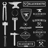 Set of logo for blacksmith, typographic logotype Stock Image
