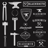 Set of logo for blacksmith, typographic logotype Stock Image