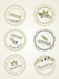 Set the logo for a certificate of health food, vector Stock Images
