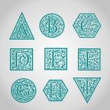 Set of Logo designs. Artistically Drawn, Stylized Stock Image