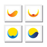 Set of logo designs of bird flying - vector icons Royalty Free Stock Photos