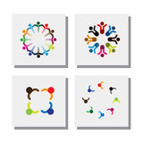 Set of logo designs of children in circles - vector icons. This also represents concepts like kids having fun, dancing in circle, celebrations, etc Stock Photo