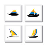 Set of logo designs of colorful boats - vector icons. This also represents concepts like fishing, shipping industry, sea and ocean travel, recreation Royalty Free Stock Images