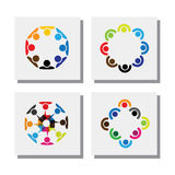 Set of logo designs of employees in circles - vector icons. This also represents concepts like employee meetings, workers solidarity, unity and cooperation Royalty Free Stock Photo