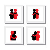 Set of logo designs of friends hugging each other - vector icons Stock Photography