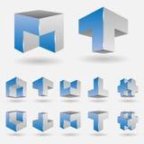 Set of logo elements. Vector illustration of a set of 3d logo elements Stock Photos