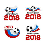 Set logo Football Championship 2018 Russia. Big set Logo Football Championship 2018 in Russia. Poster with Russian flag. Vector Illustration. Flat colored banner Stock Image