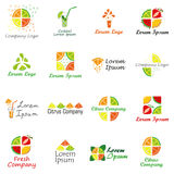 Set of logo for fruit company, fresh juice or cocktail bar. Stock Image