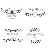 Set logo hand drawn nature brunch. Black and white. For photographer Royalty Free Stock Images