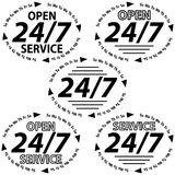 Set logo 24 hours 7 days week Royalty Free Stock Image