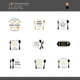 Set of Logo icon design for Restaurant and Cafe Menu sign Stock Photos