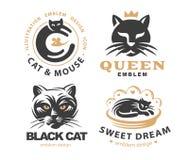 Set logo illustration with cats, emblem design Stock Image