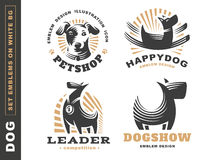 Set logo illustration dog, pet emblem on white background. Set logo illustration dog, pet emblem design on white background Royalty Free Stock Photos
