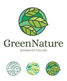 Set Logo Leaf Green Nature Stained shape. Leaf Green Nature very suitable for icon and logo of nutrition, natural, farm, vegetable, natural medicine, and others stock illustration