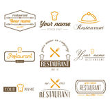Set of logo and logotype elements for restaurant Stock Images