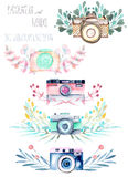 Set of logo mockups with watercolor cameras and floral elements Royalty Free Stock Photos