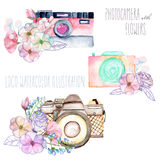 Set of logo mockups with watercolor cameras and floral elements Stock Photography
