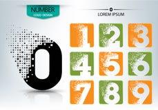 Set of logo number  design. Set of logo number shape spread  design illustration Stock Photo