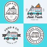 Set logo, odznaki, sztandary, emblemat dla jedzenie ciężarówki festiwalu fast food dostawa Zdjęcie Stock