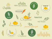 Set logo for organically grown food, vector. Stock Photography