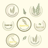 Set logo for organically grown food, vector. Royalty Free Stock Images