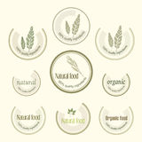 Set logo for organically grown food, vector Royalty Free Stock Image