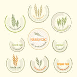 Set logo for organically grown food, vector Stock Image