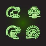 Set logo Patricks day. Neon sign shines in dark green.  Royalty Free Stock Images