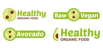 Set vegan logo with avocado royalty free illustration