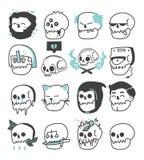 Set logo rodzajów różnorodne czaszki obrazy stock