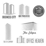 Set of logo and sticker, emblem, label and. Set of logo and emblem, label and logotype elements for building company or business Stock Photo