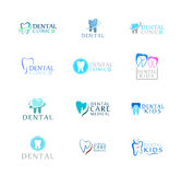 Set logo stomatologicznej opieki klinika, dentystyka dla dzieciaków Zębu abstrakta ikony Obraz Stock