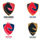 Set of logo templates with horse head. King horse sign on shield vector illustration