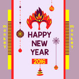 Set logo templates with a shield. Heraldic style. Flyer with a mask of red fire monkey year 2016. Postcard invitation to the feast a happy new year. Logo fiery stock illustration