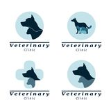 Set of logo vet clinic. With dog,cat and rabbit Stock Images