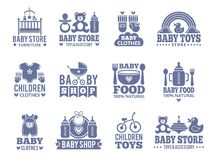 Logo for babies. A set of logos with accessories for babies Stock Photography