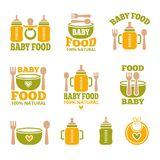 Logo for babies. A set of logos with accessories for babies Royalty Free Stock Photography