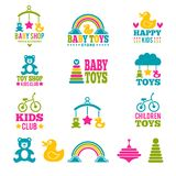 Logo for babies. A set of logos with accessories for babies Stock Photo