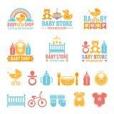 Logo for babies. A set of logos with accessories for babies Royalty Free Stock Photos