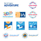 Set of logos about adventures.  EPS,JPG. Set of logos about adventures. Rest in a city, urban life. Logo for Vacation, outdoor recreation. Banner with Regatta Stock Images